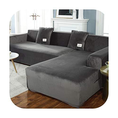 Sofa covers Felpa elástica para sala de estar de terciopelo esquinero sillón sofá cubierta juegos ángulo 3 plazas forma L muebles oscuro gris 3 asientos 190-230cm