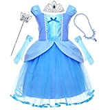 Princess Cinderella Costume Fancy Tutu Dress Up Clothes Blue Skirts with Tiara Wand Earrings Gloves Accessories Set for Little Toddler Girls Kids Halloween Cosplay Birthday Party 4t 5t 4 5 Years