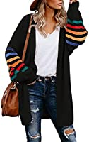 Aleumdr Womens Pocketed Button Down Casual Cable Patchwork Balloon Sleeve Long Cardigan Sweater