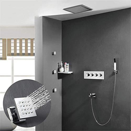 FACAIA Juego de Ducha de Lluvia, 3 chorros de SPA Cuadrados, Ducha de Mano, caño de Ducha, Cabezal de Ducha termostático montado en la Pared para baño
