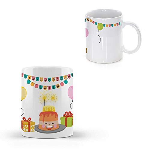 Taza PERSONALIZADA con Nombre y con Diseño CUMPLEAÑOS · Tazas de Ceramica Personalizadas a Todo Color (360º alrededor de la Taza) de 350 ml · Cumpleaños para Amigos, Familiares, Pareja, etc