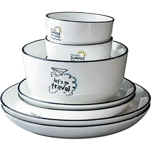 ZJZ Juegos de vajilla de cerámica, 25 Piezas, Simple Juego de combinación de Porcelana de Estilo nórdico, Plato Hecho a Mano, vajilla de Trazos de línea Negra para Restaurante