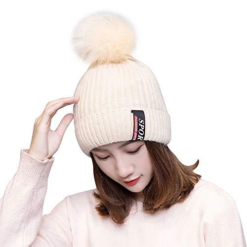 CHENDX Sombrero, Mujer niña Gorro de Invierno Sombreros de Punto de Piel Real Pom Ski Cap (Color : White)