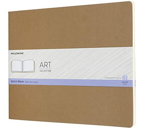 Moleskine Art Cahier Sketch Album, Soft Cover, XXL (8.5' x 11') Plain/Blank, Kraft Brown, 88 Pages (8058647626802)