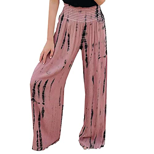 Pantalones De Pierna Ancha De Bolsillo De Cintura Alta EláStica De Moda Pantalones Casuales