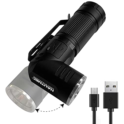 HAUTMEC Tactical LED Flashlight with Adjustable 90 Degree Head, Magnetic Tail, Compact Waterproof Aluminum Design, USB Rechargeable Lithium Battery Included, 3 Models, HT0092-WL