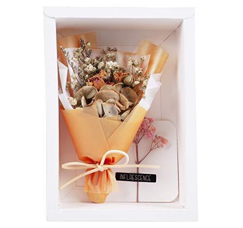 Blanc Mini Ramo Creativo con Caja y Tarjeta de felicitación Ramo de Flores secas Regalos de cumpleaños Decoración de Fiesta (005-Combo7)