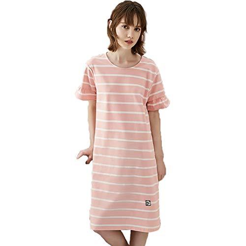 DyM Camisón de algodón para mujer, verano, primavera y otoño, de longitud media, lindo, de gran tamaño, suelto, de manga corta, pijamas finos, servicio a domicilio
