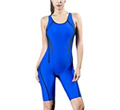 Romacci Women Professional Sports One Piece Swimsuit Swimwear Racing Competition Full Brief Knee Bathing Suit
