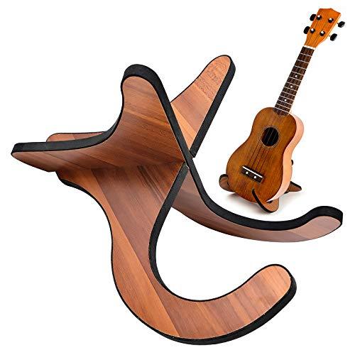 Ukulele Ständer Holz Gitarrenständer, Halter Holz Instrumentenständer, Die retro und elegante Oberfläche präsentiert elegante künstlerische Ornamente