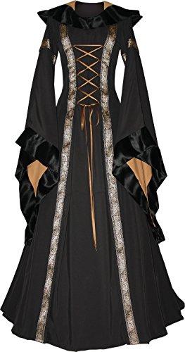 Dornbluth Damen Mittelaltekleid Sarah Made in Germany (40/42 kurz, Schwarz-Safran)