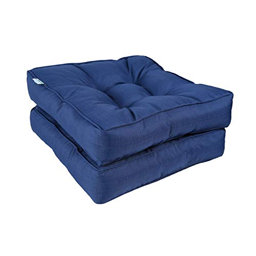 """Outdoor Patio Chair Cushions, Ohuhu Tufted Square Corner Seat Cushions for Office, Garden Furniture, Indoor Outdoor Water-Resistant Floor Cushion Sitting Pillows, 19""""x19""""x5"""" Thicker Chair Pads, 2 Pack"""