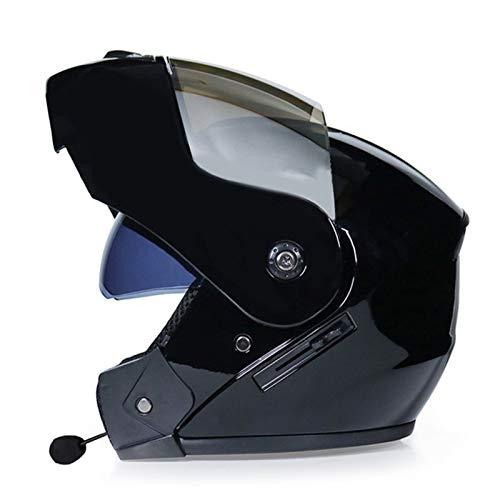 Casco de Moto Modular con Bluetooth Integrado,Casco Moto Integral ECE Homologado con Doble Visera Casco de Moto de Carreras Moto Abatible Casco Integral para Mujer Hombre Adultos G,L