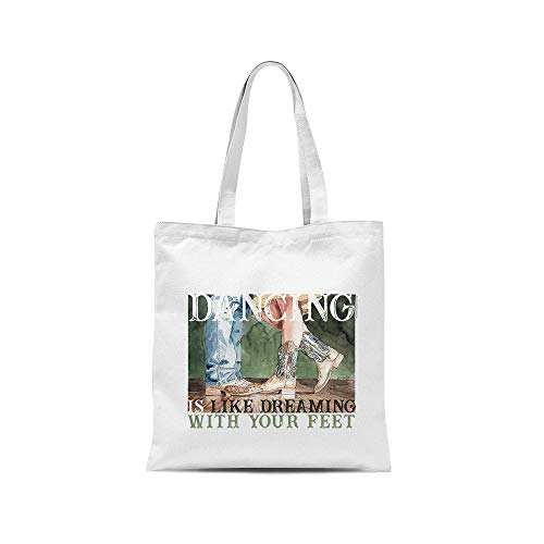 all sas Bolso shopper country dancing is like dreaming with your feet 100% tela de algodón estampado Made in Italy Blanco Size: 38cm x 40cm