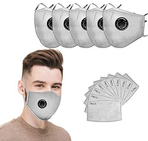 Mundschutz Maske Schutzmaske Multifunktionstuch Mund und Nasenschutz Waschbar Staubschutzmaske Wiederverwendbar Atmungsaktiv Mundschutz Winddicht Unisex Halstuch,3 Pack+10 Aktivkohlefiltern (GRAU)
