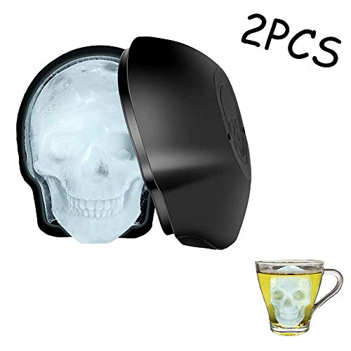fang zhou Large 3D Skull Ice Molds Cube Mold Tray Reusable Silicone Shape Cubes Maker, for Whiskey, Cocktails, Beer, Big Mouth Cup, Halloween Party Favors, 2 Pack