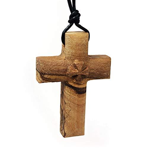 Solid Olive Wood Maltese Cross Pendant on Black Leather Necklace Cord 32' Length Adjustable for Men & Women - Christian Spiritual Gift