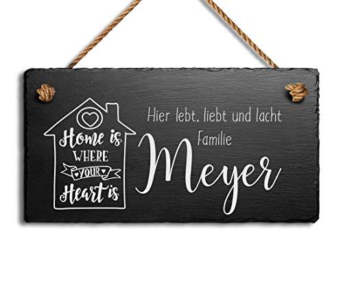 Schöne Schiefer Türschilder für die Haustür mit Gravur | Schiefer-Schild mit Kordel zum Aufhängen in 3 Größen gravierte Namensschilder Klingelschilder mit Namen oder Texten Herzlich Willkommen