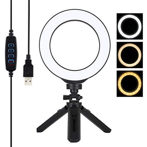 Wuqiang 16 cm 6,2 Pulgadas USB 3 Forma un anular Regulable Blog de vídeo LED fotografía de vídeo Soleado + Funda de trípode, la Cabeza del trípode (Negro) (Color : Black)