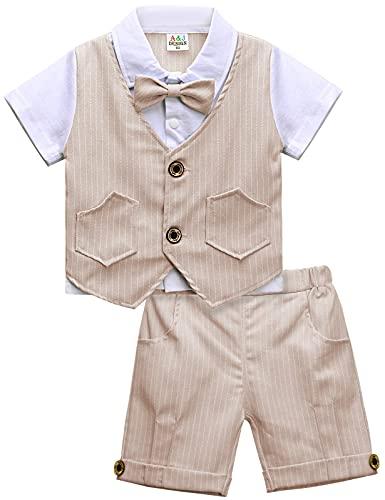 mintgreen Bebé Niño Gentilhombre Raya con Corbata de moño Formal Traje Conjunto, Caqui, 3-4 años (Tamaño del fabricante: 110)