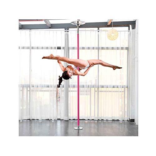 EASOUG Profi Tanzstange Pole Dance,Hochwertige Tanzstange Edelstahl,Pink Poledance,höhenverstellbar 2.3-2.75m,inkl DVD