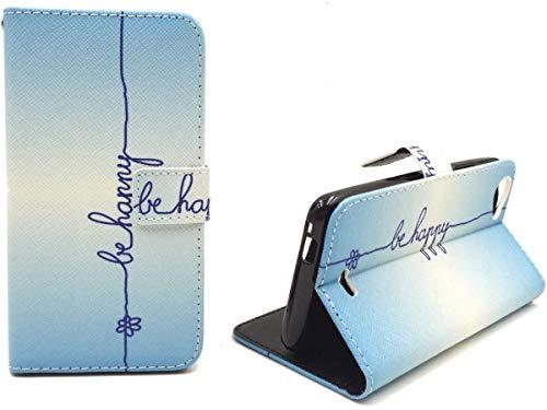 König Design Handyhülle Kompatibel mit Wiko Rainbow Jam Handytasche Schutzhülle Tasche Flip Hülle mit Kreditkartenfächern - Be Happy Blau