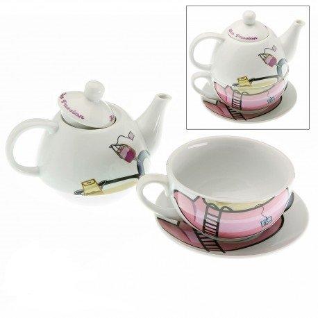 Tetera con taza y plato