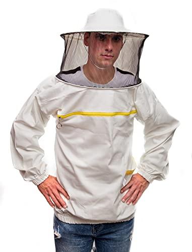 Abbigliamento professionaleper apicoltura. Tuta con maniche tonde a cappello ed elastico. Respinge api. Forniture per apicoltura, giacca da apicoltore, protezione per gli apicoltori.Bianco L