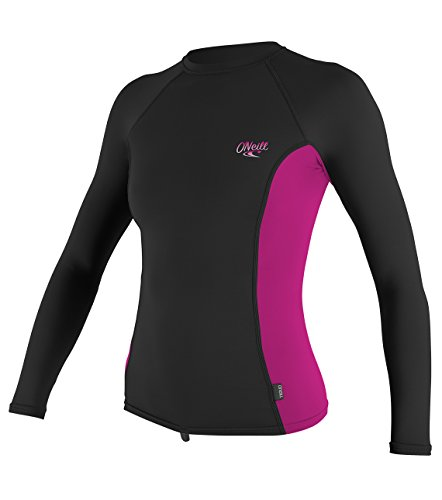 O'Neill Women's Premium Skins UPF 50+ Long Sleeve Rash Guard, Black/Berry, X-Large