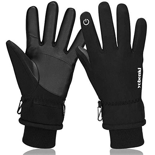 Keaplayee Mens Winter Gloves, -30℉ Waterproof Touch Screen Gloves Thermal Women Gloves