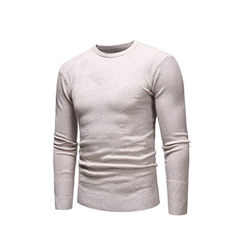 Men Autumn New O Neck Soft Warm Sweater Pullovers Men for Teens 3D Pattern Knitwear Baggy Casual Sweaters,Khaki,XL