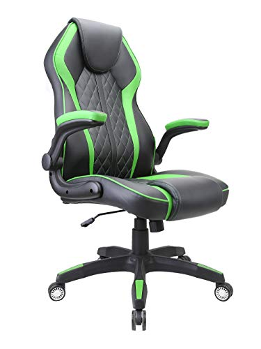 HOMEFUN PC Gaming Chair for PS4 Ergonomic Gaming Office Chair High Back Computer Chair with Adjustable armrest Rocker Video Game Chairs for Adults (Black &Green)