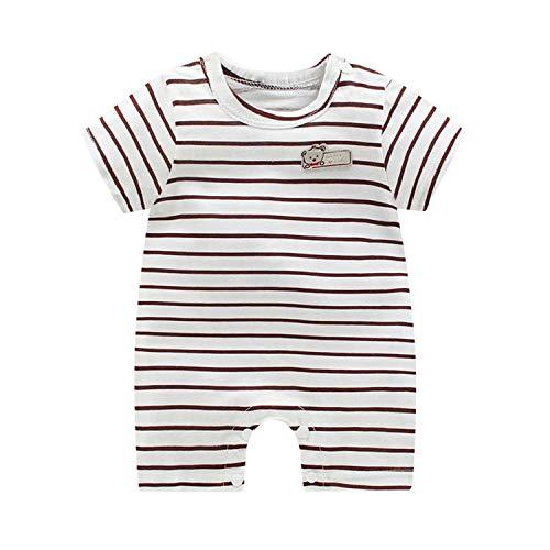 Petalum Baby Neugeboren Schlafanzug Schlafstrampler Sommer Mädchen Junge Kurzarm Strampler Bodysuit Jumpsuit Cartoon Druck 66 weiß-gestreift