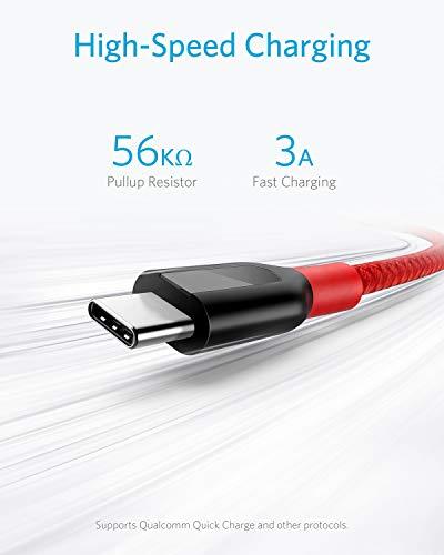 Anker [3-Pack Powerline+ USB-C Kabel, für Galaxy S8, S8+, S9, S10, MacBook, Sony XZ, LG V20 G5 G6, HTC 10, Xiaomi 5 und viele mehr (Rot)(0.9m+1.8m+3m)