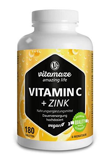 Vitamaze® Vitamina C 1000 mg + Zinc, 180 Comprimidos Vegana