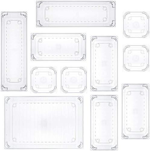 11 bandejas organizadoras de escritorio de plástico transparente para utensilios de cocina
