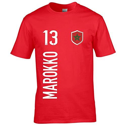 FanShirts4u Kinder Fanshirt Trikot Jersey MAROKKO T-Shirt inkl. Druck Wunschname u. Wunschnummer WM (5/6 Jahre 110-116 cm, MAROKKO/Rot)