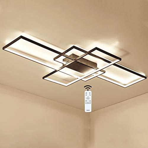 Tnxi LED Deckenleuchte 90W Modern rechteckiges Aluminiumlicht 8100LM mit dimmbarer Fernbedienung Deckenlampe 3000K-6000K verwendet in Wohnzimmer Schlafzimmer Küche Esszimmer und Büro L140CM