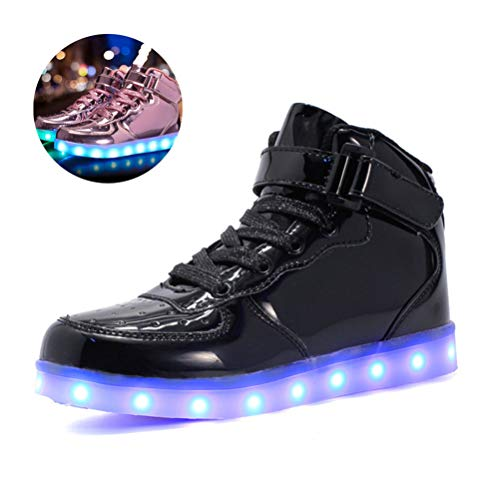 LED Light up Shoes, USB Charging Mid Top Sneakers for Kids Boys Girls Flashing Shoes Birthday Gifts Toddler Casual Shoes Christmas Halloween,Black,25