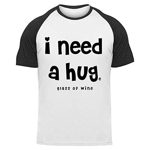 Ik heb een groot glas wijn nodig - Baseball T-shirt met korte mouwen wit zwart 100% katoen