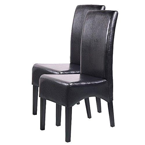 Mendler 2X Esszimmerstuhl Küchenstuhl Stuhl Latina, Leder ~ schwarz, dunkle Beine
