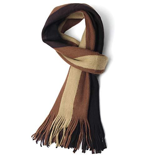 Xu Yuan Jia-Shop Moda Bufanda Chal El otoño y el Invierno de Negocios Bufanda de Punto de los Hombres de Lana a Rayas Bufandas de Cachemira de imitación Suave y cálido Bufanda acogedora (Color : A)