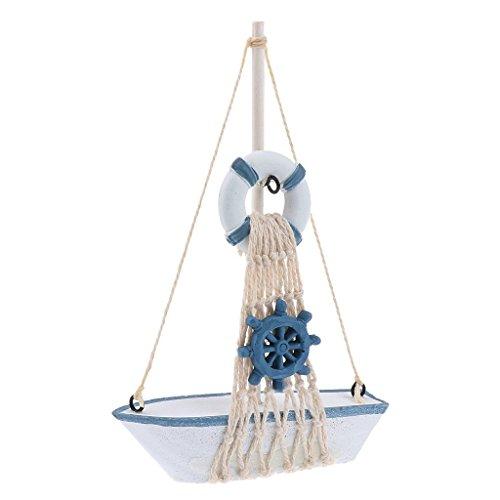 Inzopo Mini Barca a Vela in Legno - Decorazione Rete da Pesca - Ornamento da Tavolo Nautico per casa o Boutique, Voilier Bouée et Gouvernail