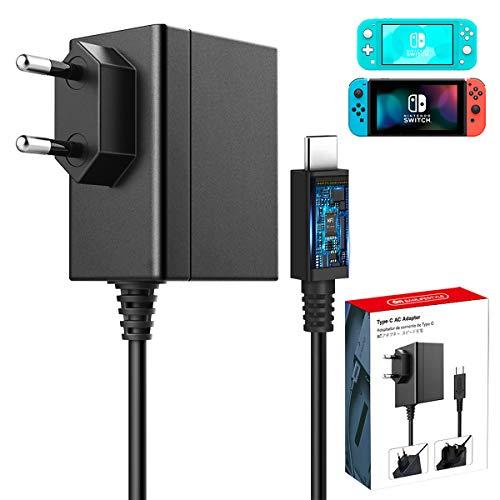 Netzteil für Nintendo Switch & Switch Lite, 6amLifestyle AC Adapter 15V 2.6A Typ C Ladegerät Unterstützt Switch TV-Modus und Docking-Station, Reise Ladegerät Charger für Nintendo Switch / Switch Lite