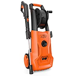 AIPER Electric Pressure Washer with Long, Hose Reel, Adjustable Nozzle and Spray, Orange