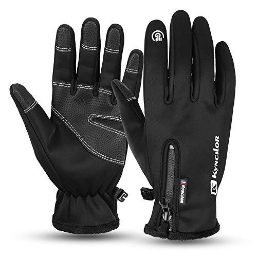 Vivibel Fahrradhandschuhe Männer Winter, Winddichte rutschfeste Handschuhe Herren Damen Touchscreen Handschuhe Outdoor, Warme Atmungsaktive winterhandschuhe für Lauf Radfahren Wandern Laufen(Schwarz)
