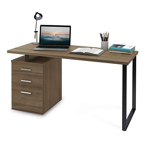 "DEVAISE Modern Computer Desk, 55.1"" Office Desk with Reversible File Cabinet, Gray Oak"