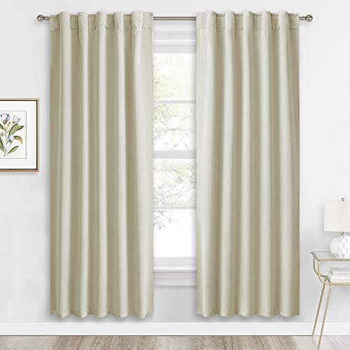 RYB HOME Curtains for Living Room - Blackout Curtains Sunlight Block Privacy for Dining Bedroom Bay Window Shades, W 42 x L 72, Beige, 1 Pair