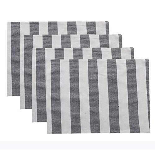 Ensembles de 4 Motifs de rayures géométriques Placemats ou sous verres Coton Table de restaurant Tapis de table Table de mariage 32x45 cm 12.5x17.7 pouces