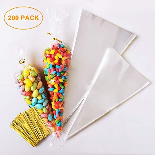 Süßigkeitentüten Transparente Plastiktüten Cone Tüte 200 Stück + Süßigkeiten tüten Gold Bindestreifen für Schokolade,Bonbons,Puffreis,EINWEG